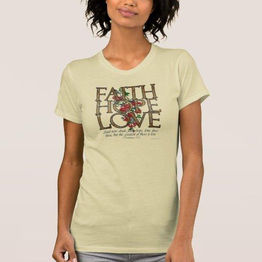 Faith Hope Love Christian Bible Verse T-shirts