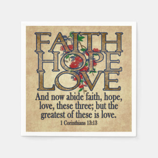 Faith Hope Love Elegant Bible Scripture Christian Disposable Napkin