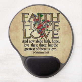 Faith Hope Love Elegant Bible Scripture Christian Gel Mouse Pad