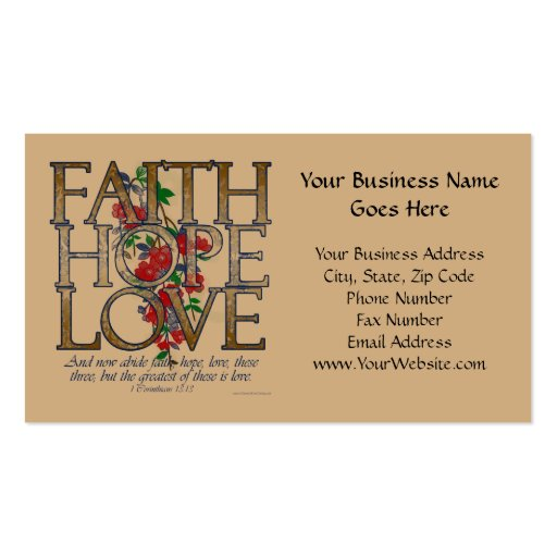 Faith Hope Love, Floral Design With Bible Verse Business Cards