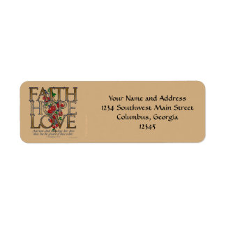 Faith Hope Love, Floral Design With Bible Verse Return Address Label