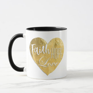Faith Hope Love Gold Foil Mug