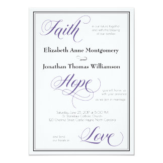 Faith Hope Love Graceful Script Wedding Invitation