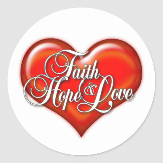 Faith Hope Love Heart Classic Round Sticker