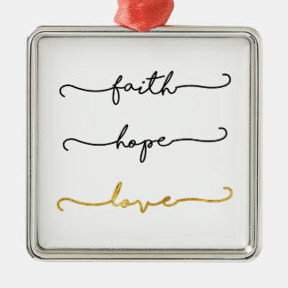 Faith Hope Love Metal Ornament
