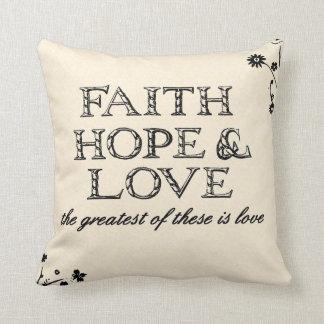 Faith, Hope & Love Parchment Cushion