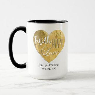 Faith Hope Love Personalized Wedding 15 oz. Ringer Mug