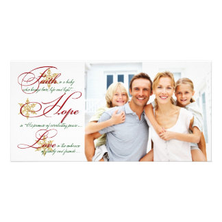 Faith, Hope, Love Red and Gold Christmas Photocard Photo Greeting Card