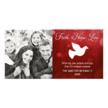 Faith Hope Love Religious Christmas Dove Red Personalized Photo Card