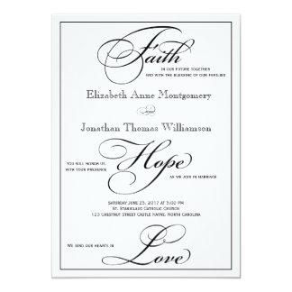 Faith Hope Love Script Wedding Invitation