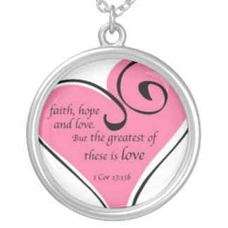 faith hope love silver plated necklace