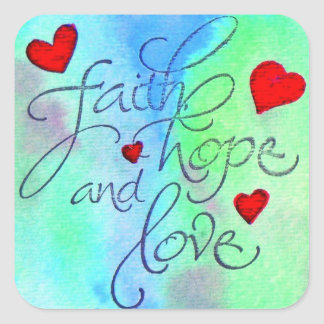 faith hope love square sticker