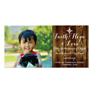 Faith Hope Love Vintage Christian Christmas Card