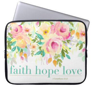 Faith Hope Love | Watercolor Floral Laptop Sleeve