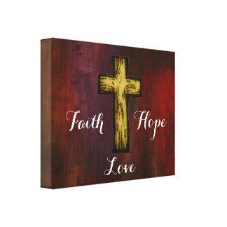 Faith Hope Love with Wooden Cross Canvas Prints