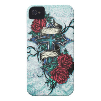 Faith in Love cross and roses in tattoo style. iPhone 4 Case-Mate Cases