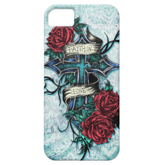Faith in Love Roses and cross art on blue base iPhone 5 Cover