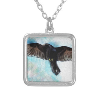 Faith is a raven silver plated necklace