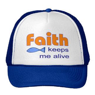 Faith keeps me alive, Christian fish symbol Mesh Hat