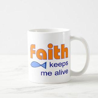 Faith keeps me alive, Christian fish symbol Mug