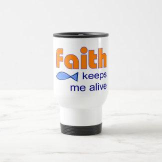 Faith keeps me alive, Christian fish symbol Coffee Mugs