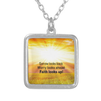 Faith looks up! silver plated necklace