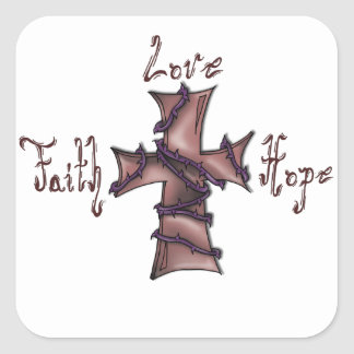 Faith,love,hope cross square sticker