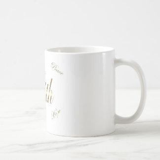 Faith Love Hope Peace gold tone coffee mug