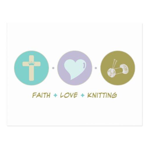Faith Love Knitting Postcard