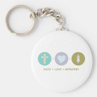 Faith Love Midwifery Basic Round Button Key Ring