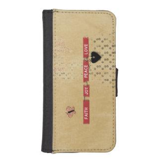 Faith Love Peace Joy Black Heart Butterfly Design iPhone SE/5/5s Wallet Case