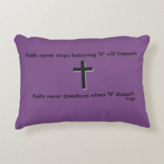 Faith Never Accent Pillow w/Black Solid Cross