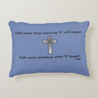 Faith Never Accent Pillow w/Blue Cross