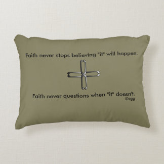 Faith Never Accent Pillow w/Steel Cross