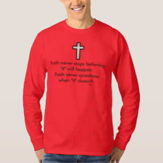 Faith Never Basic Long Sleeve Black Outline Cross T-Shirt