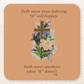 Faith Never Coasters w/Blue Flower cross