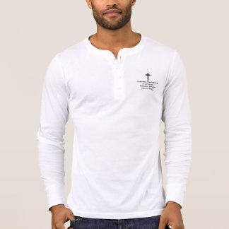 Faith Never Henley Long Sleeve Black Solid Cross T-Shirt