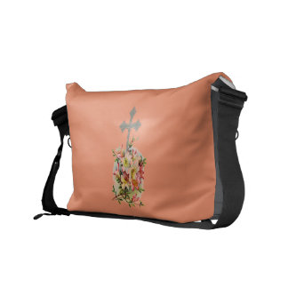 Faith Never Messenger Bag w/Pink Flower Cross