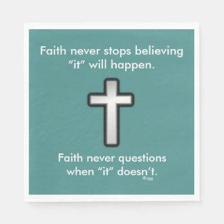Faith Never Napkins w/Black Outline Cross Disposable Napkin