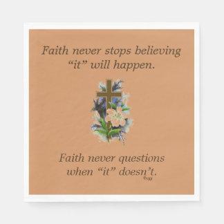 Faith Never Napkins w/Blue Flower Cross Disposable Serviette