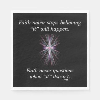 Faith Never Napkins w/Feather Cross Disposable Napkin