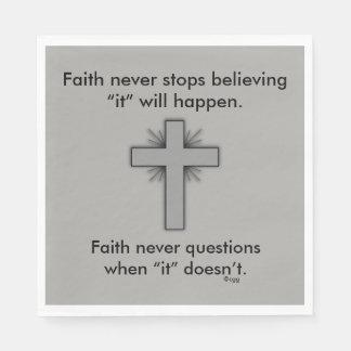 Faith Never Napkins w/Grey Flared Cross Paper Napkin