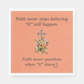 Faith Never Napkins w/Pink Flower Cross Disposable Serviette