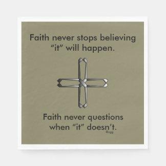 Faith Never Napkins w/Steel Cross Disposable Napkin