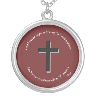 Faith Never Necklace w/Black Solid Cross