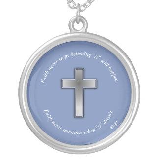Faith Never Necklace w/Blue Cross