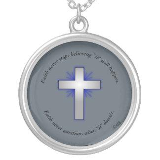 Faith Never Necklace w/Blue Flared Cross