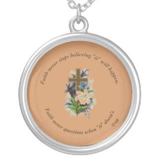 Faith Never Necklace w/Blue Flower Cross