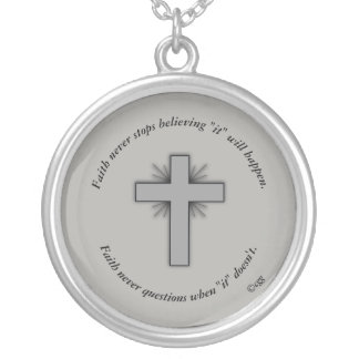 Faith Never Necklace w/Gray Flared Cross