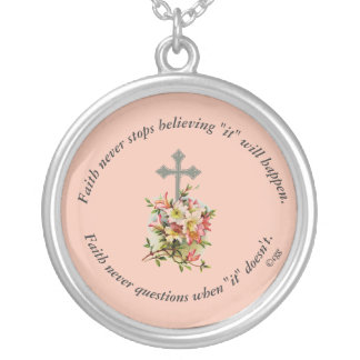 Faith Never Necklace w/Pink Flower Cross